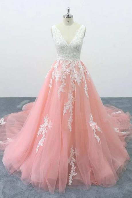 Impressive Sleeveless Blush Wedding Dress Low V Back Wedding Dress 2019 Appliques Cathedral Train Vestido De Noiva Sereia Com Manga